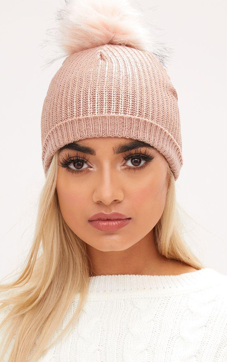 Pink Metallic Faux Fur Beanie