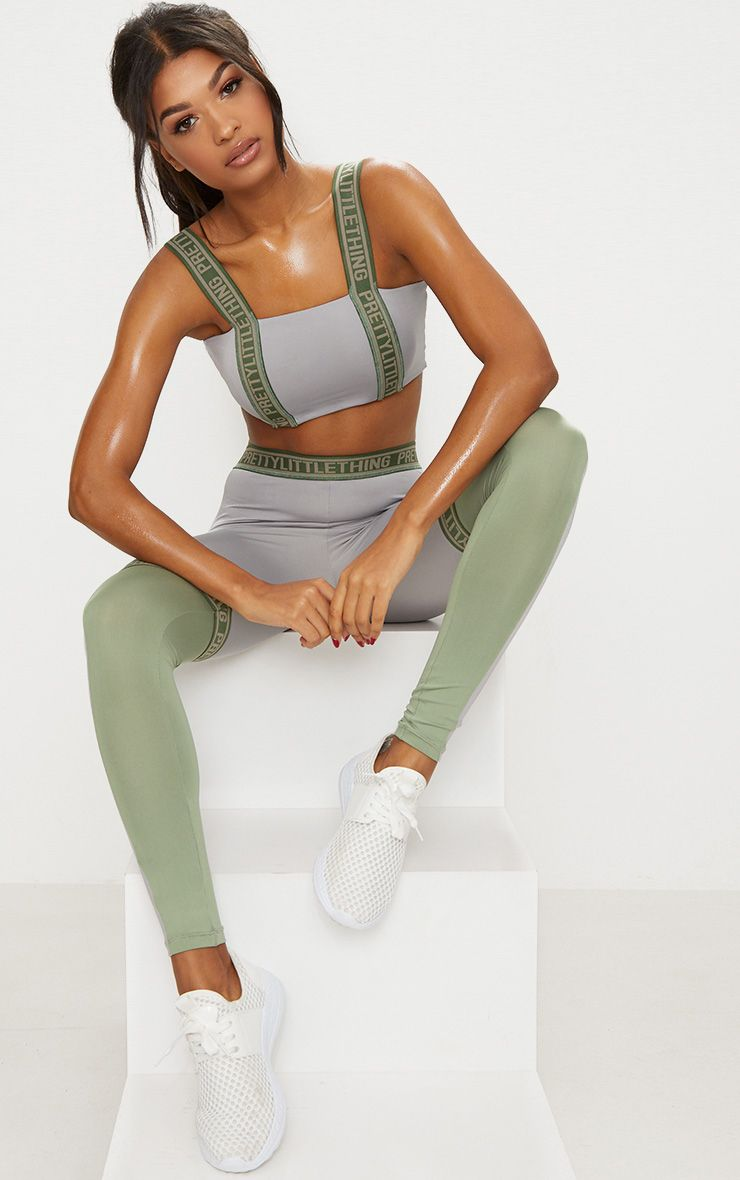 Grey PLT Elastic Trim Sports Leggings
