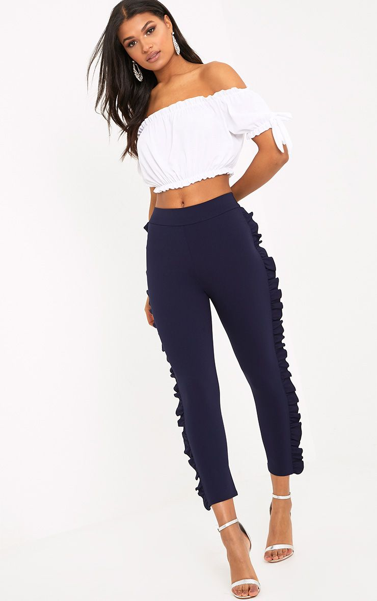 Ornella Navy Frill Detail Skinny Trousers