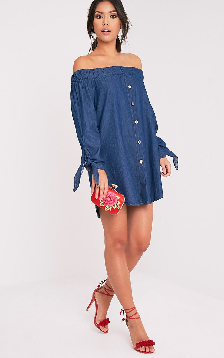 Shey Dark Blue Wash Chambray Bardot Swing Dress 1