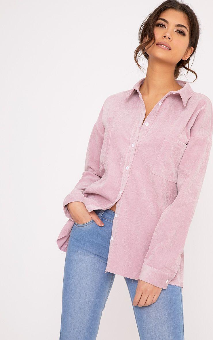 Auriela Pink Cord Distressed Hem Oversized Shirt