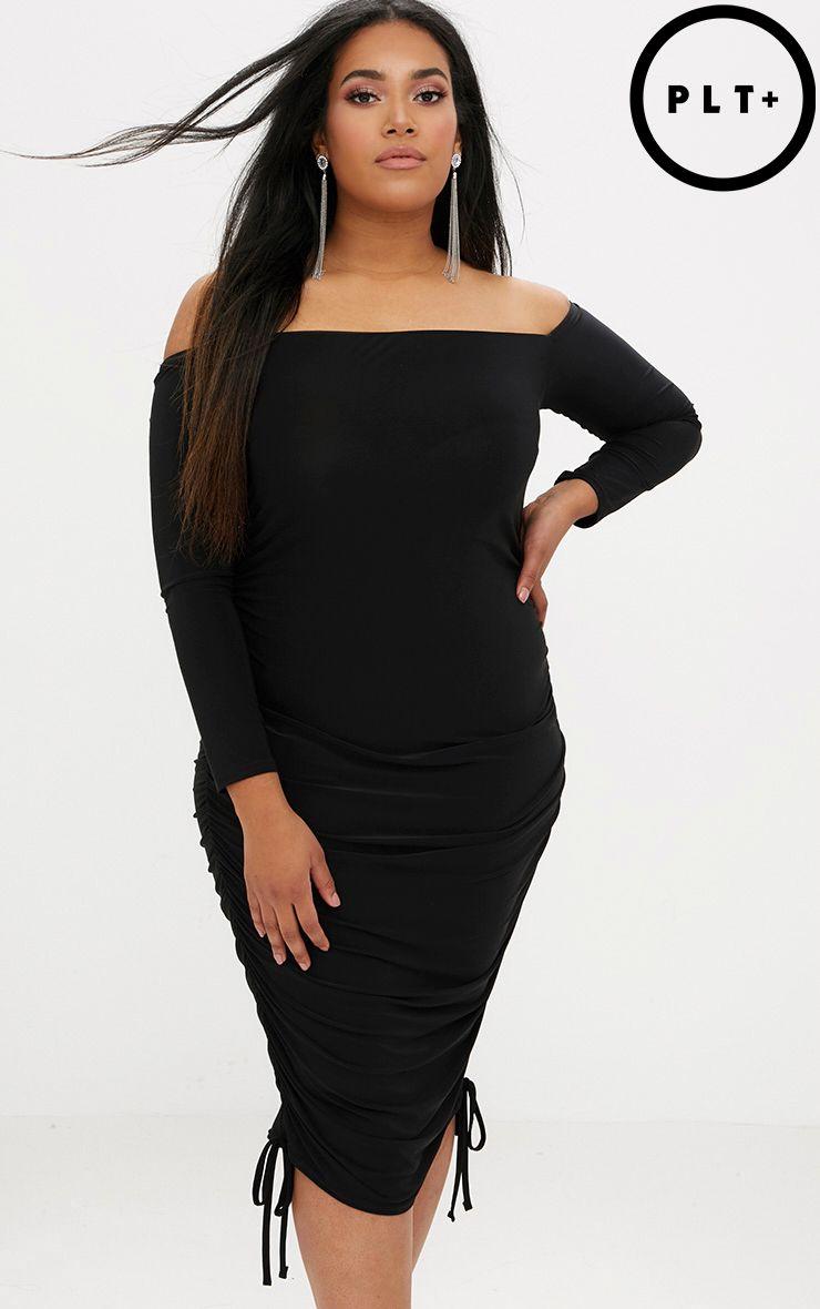 Plus Black Ruched Tie Side Bardot Midi Dress