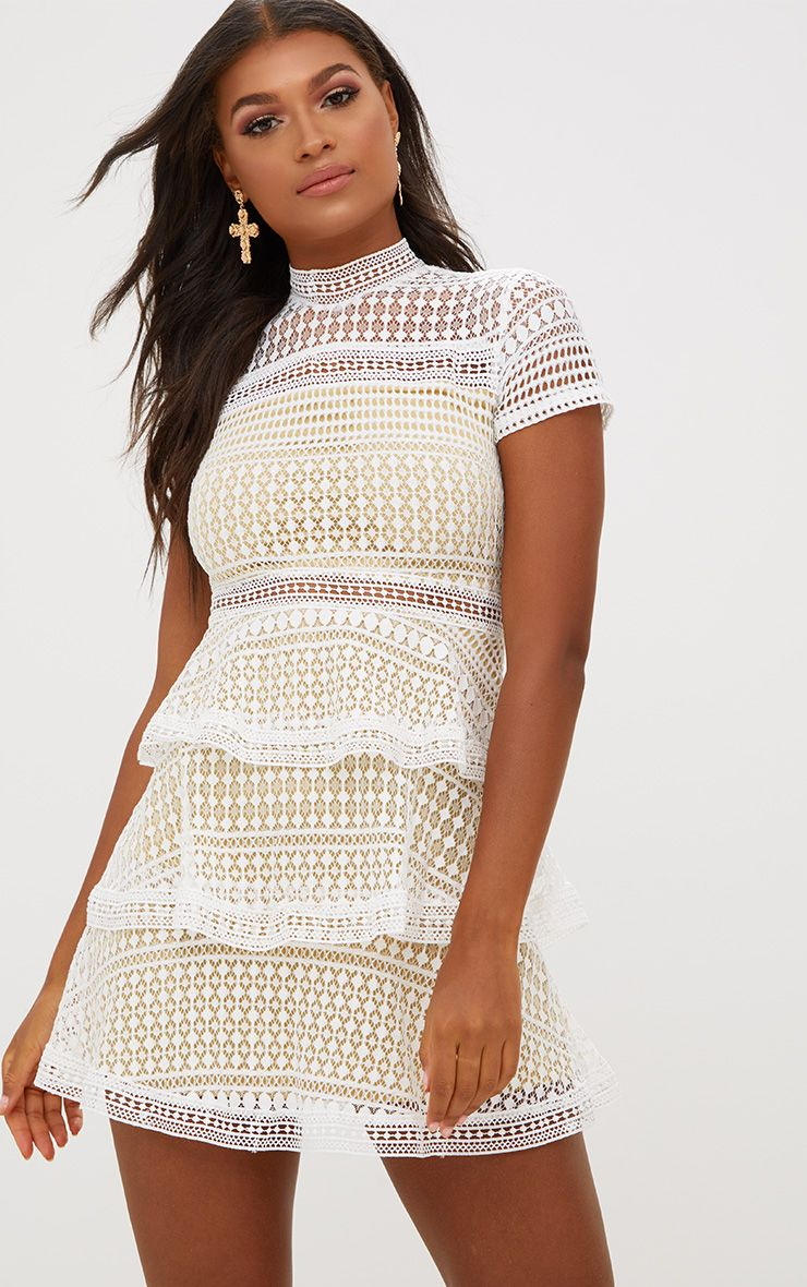 White Lace High Neck Skater Dress