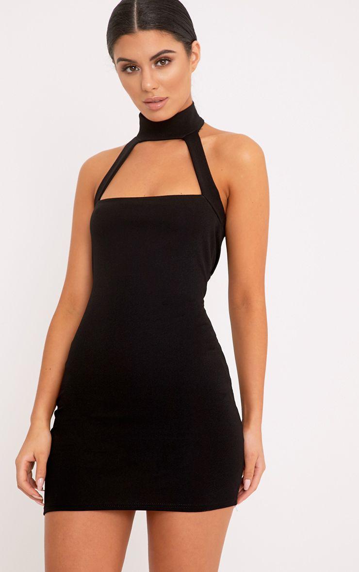 Corin robe moulante à bretelles noire