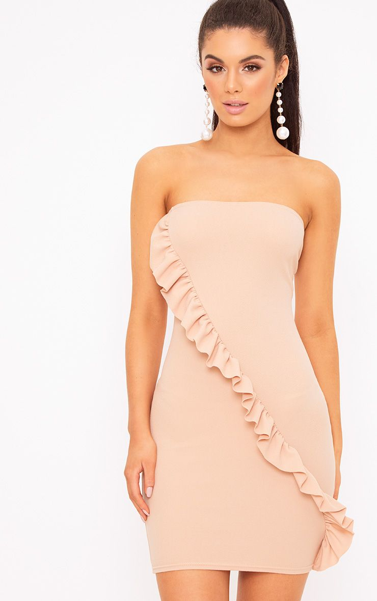 Nude Bandeau Frill Detail Bodycon Dress