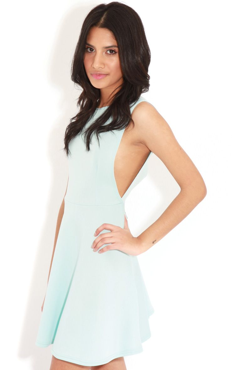 Arianna Baby Blue Scuba Side Slit Skater Dress 1