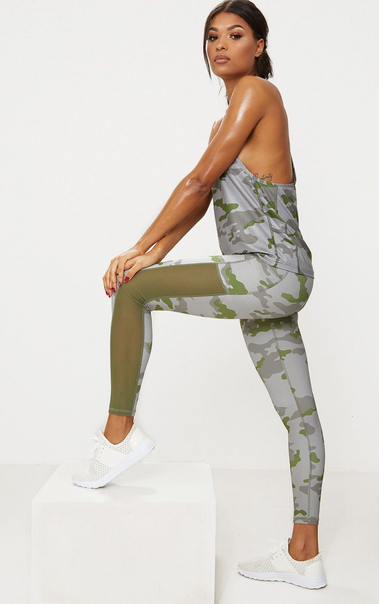 Khaki Camo Sports Leggings 1