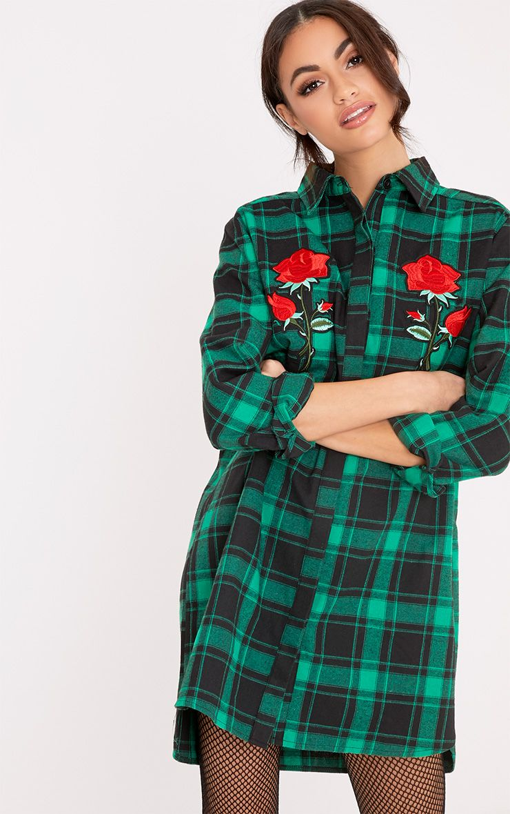 Julianah Green Applique Check Shirt Dress