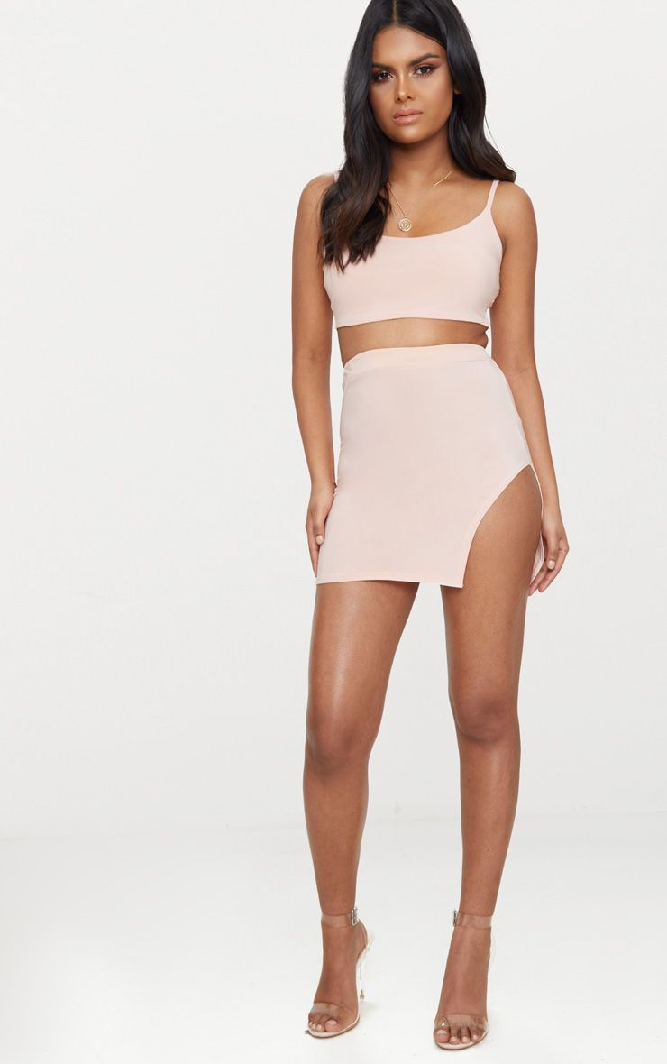 Petite Nude Slinky Side Split Bodycon Skirt -1845
