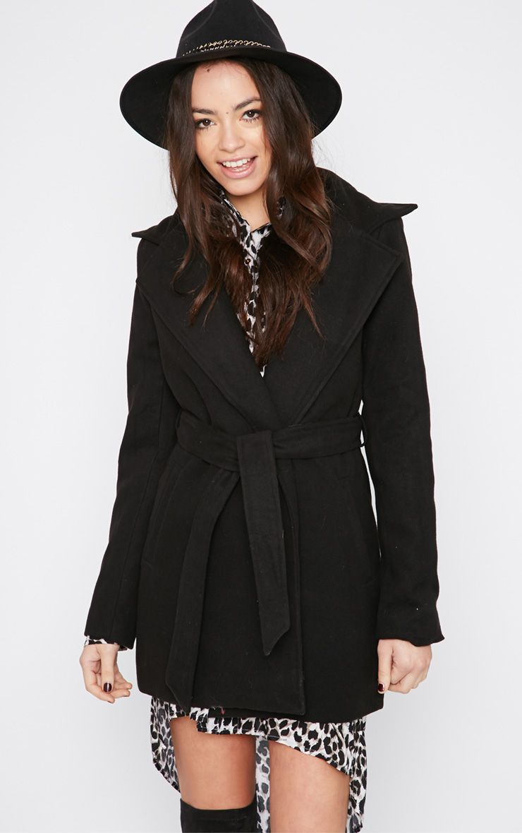 Shona Black Notched Collar Wool Coat  1