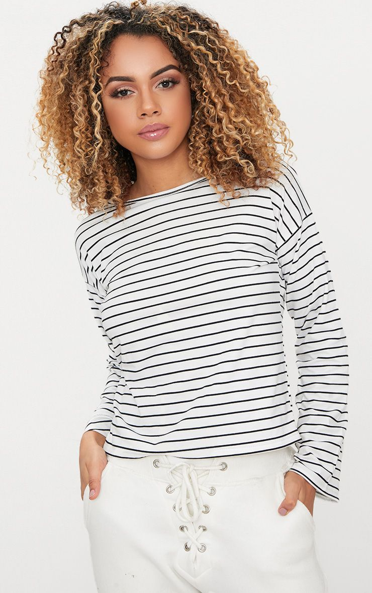 White Pinstripe Jersey Long Sleeve Top