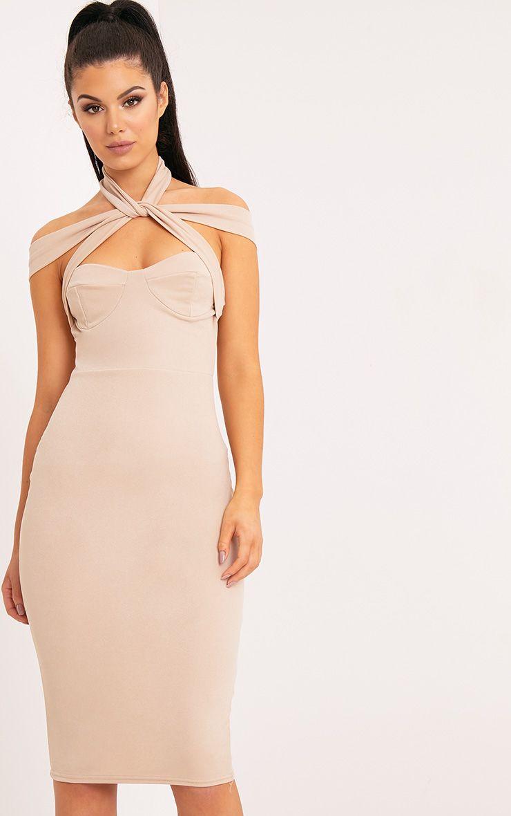 Pandara Nude Strappy Top Detail Midi Dress