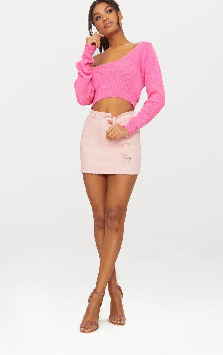 Candy Pink V Neck Off Shoulder Soft Knitted Crop Jumper