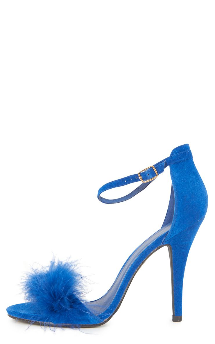 Saskia Cobalt Fluffy Strappy Heeled Sandals 1