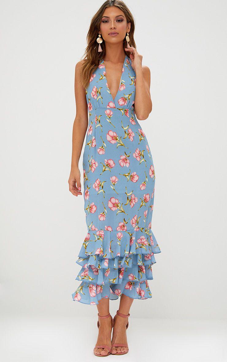 Dusty Blue Floral Print Halterneck Frill Hem Midi Dress