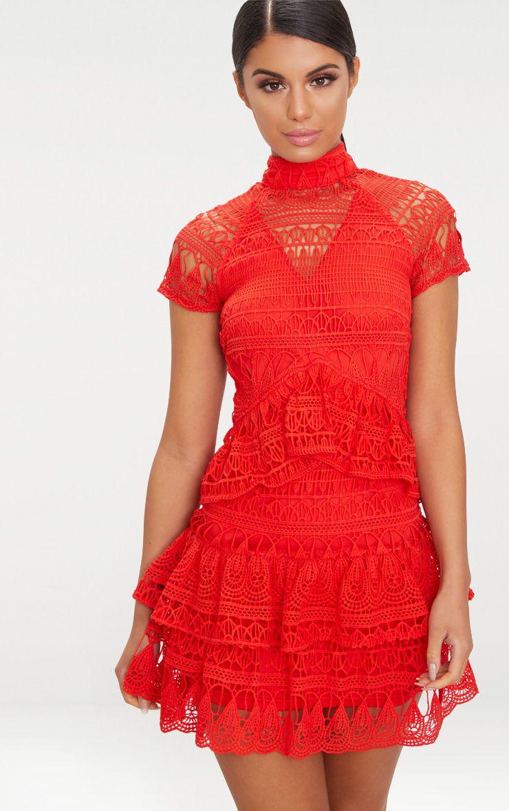 Red Crochet High Neck Frill Skater Dress 1