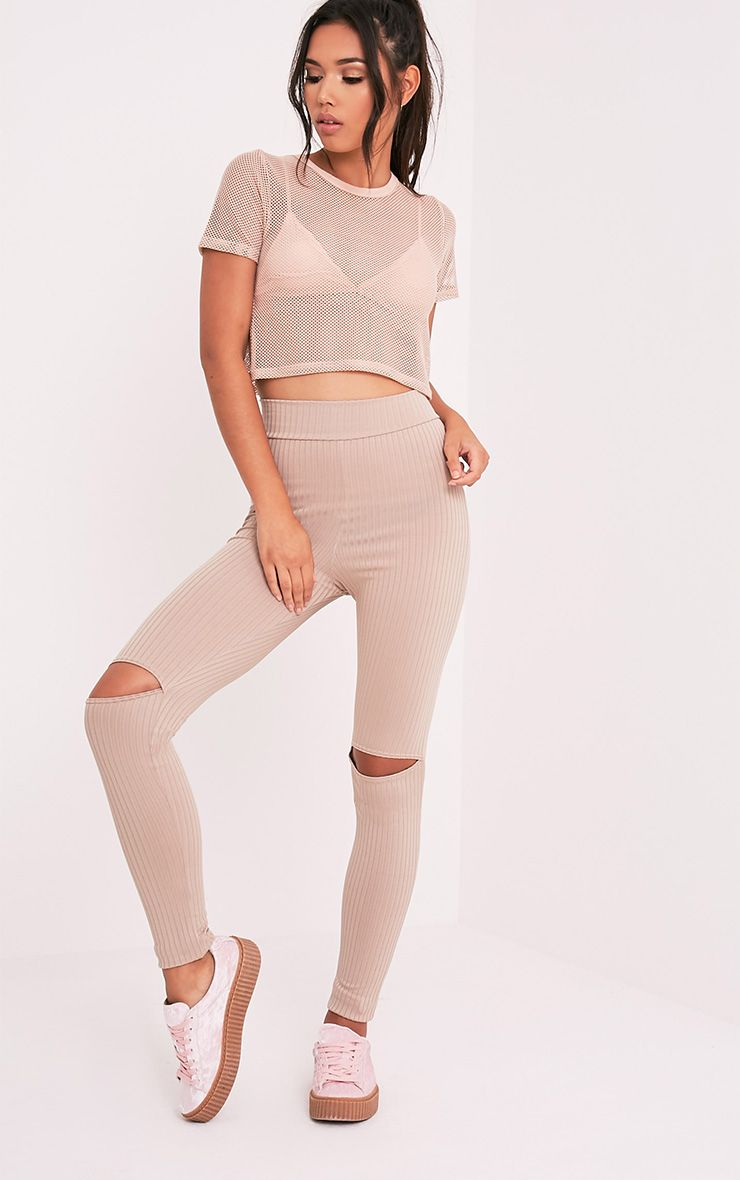 Harlie Taupe Knee Slit High Waisted Leggings 1