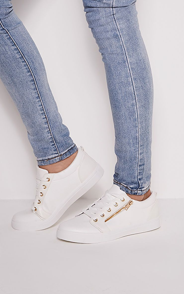 Rio White Casual Zip Detail Trainers 1