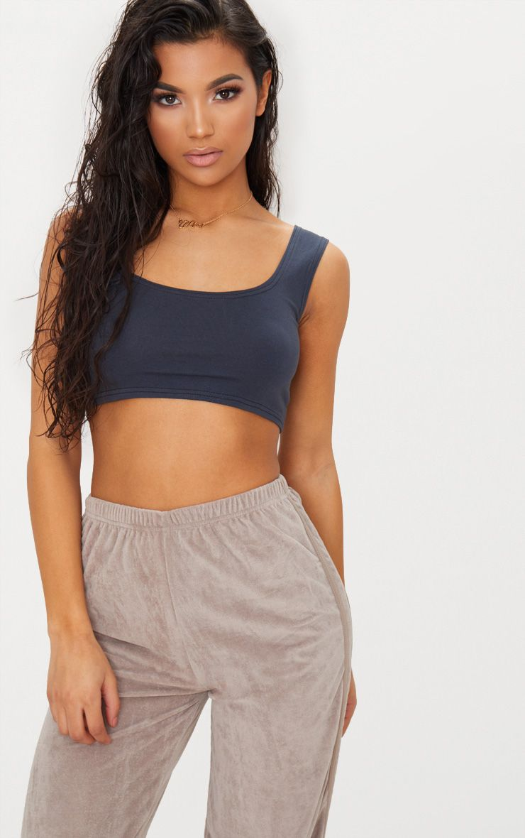 Charcoal Blue Stretch Scoop Neck Crop Top