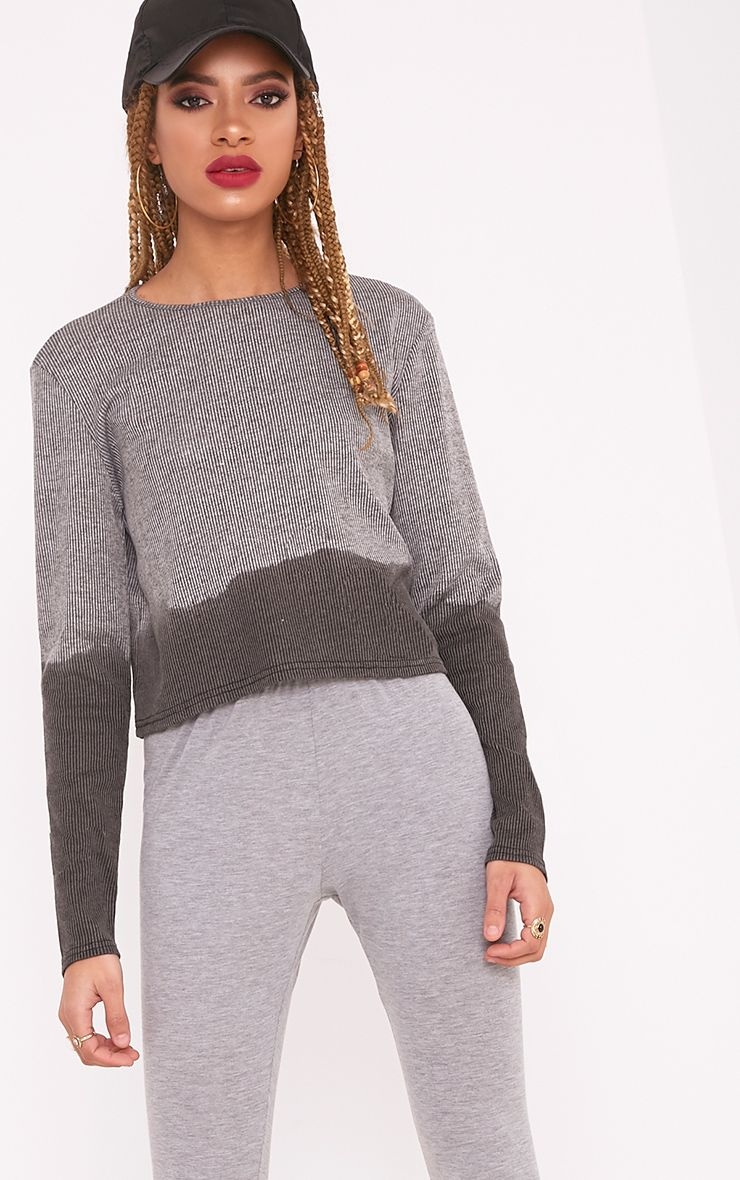 Shawna Grey Dip Dye Ribbed Longsleeve Top