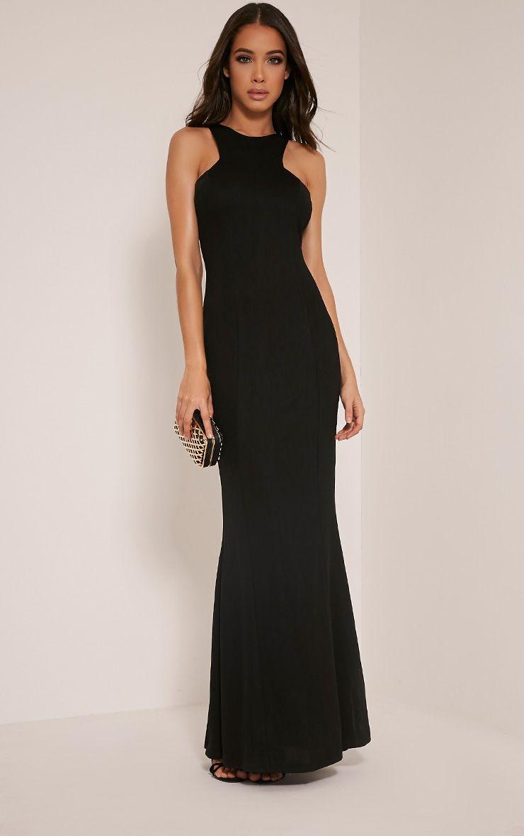 Natalia Black Racer Neck Crepe Maxi Dress 1