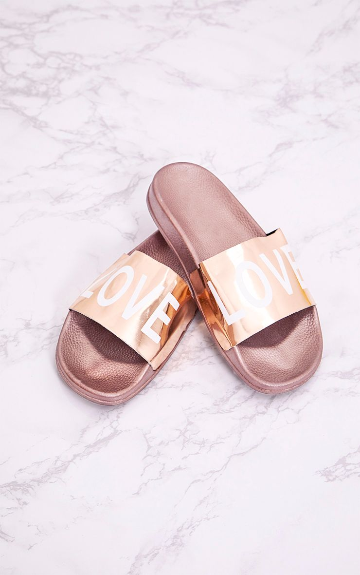 Rose Gold Metallic LOVE Sliders