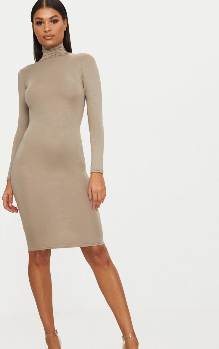 Basic Taupe Roll Neck Midi Dress