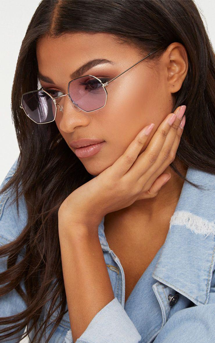 Lilac Hexagon Retro Sunglasses
