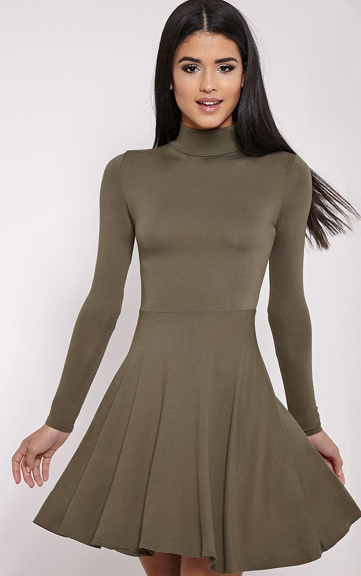 Basic Khaki High Neck Jersey Skater Dress