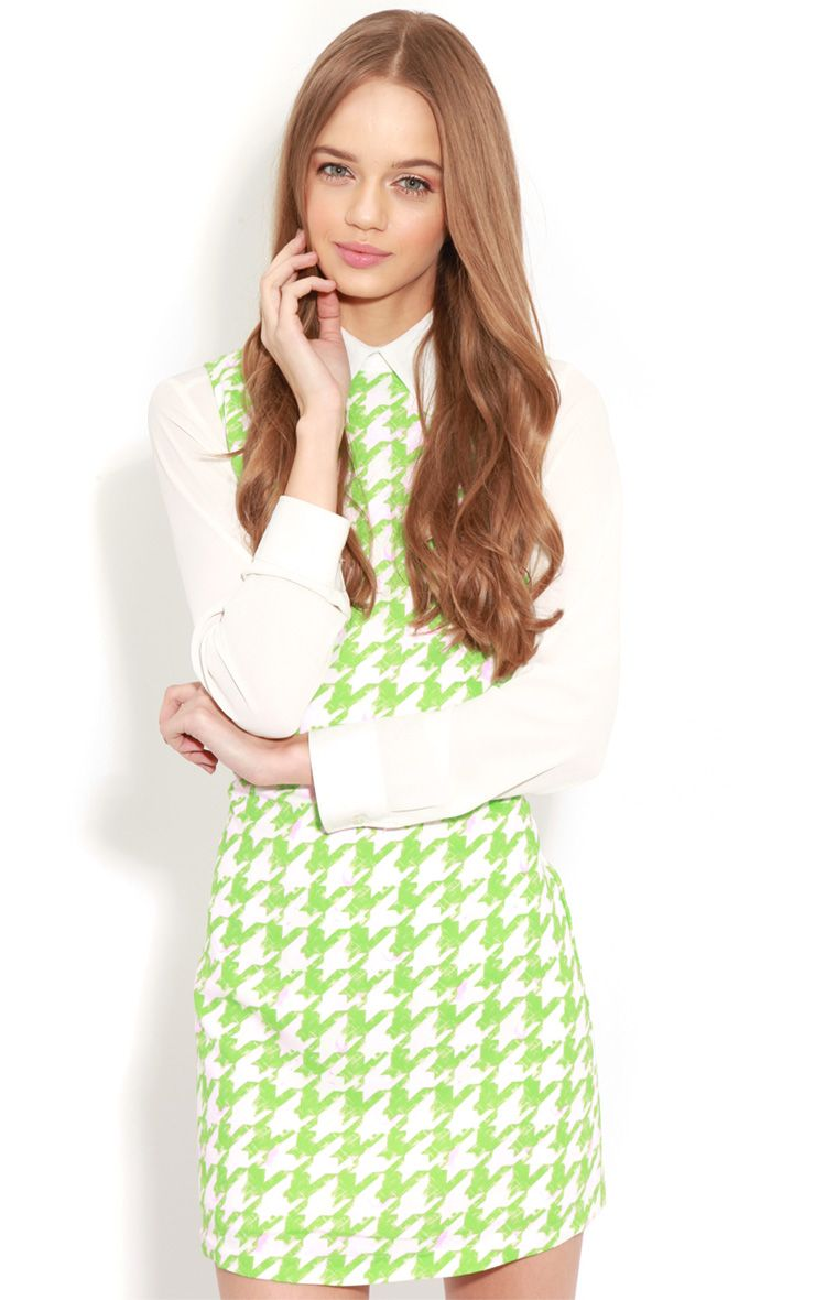 Ayla Green Dogtooth Shift Dress 1