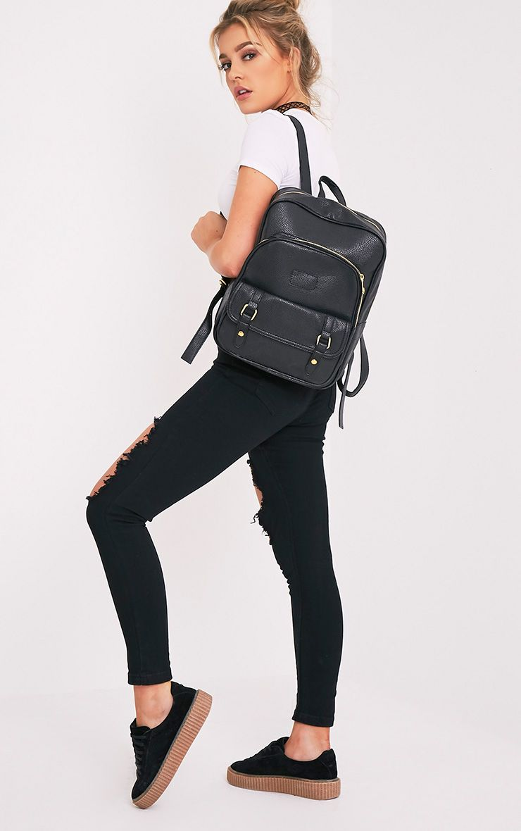 Yamkah Black PU Backpack Black