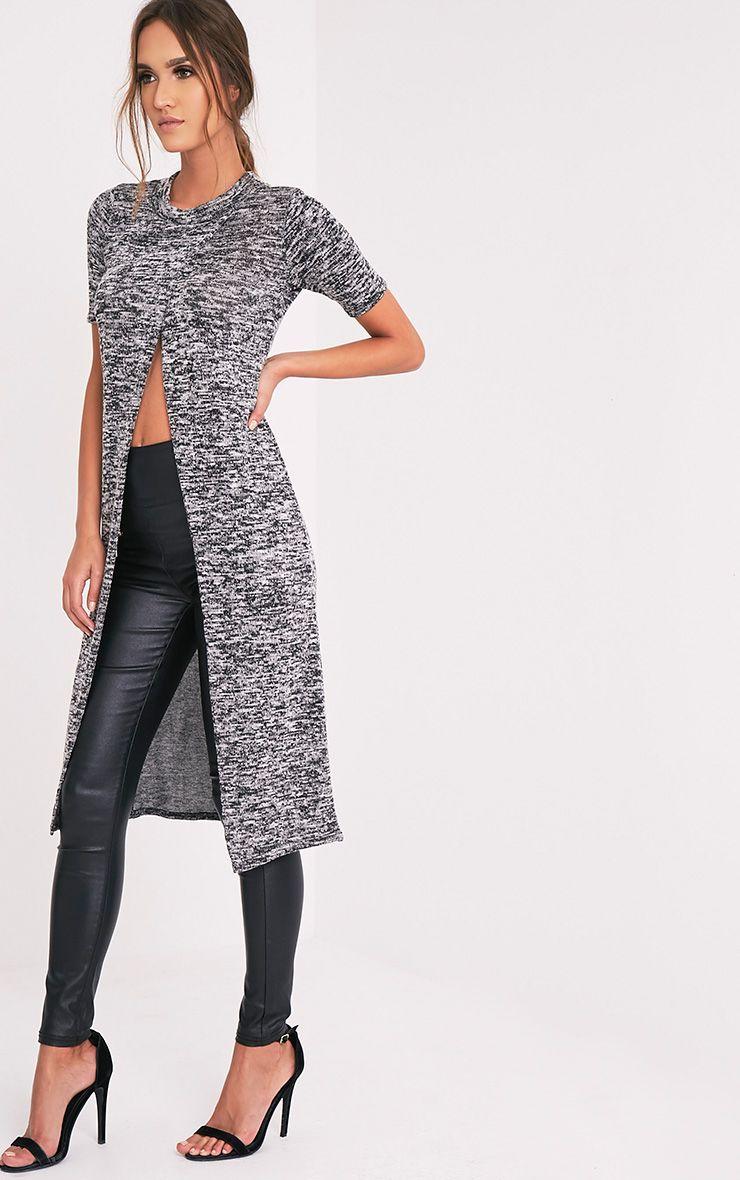 Ezadora Grey Fine Knit Long Line Split Top