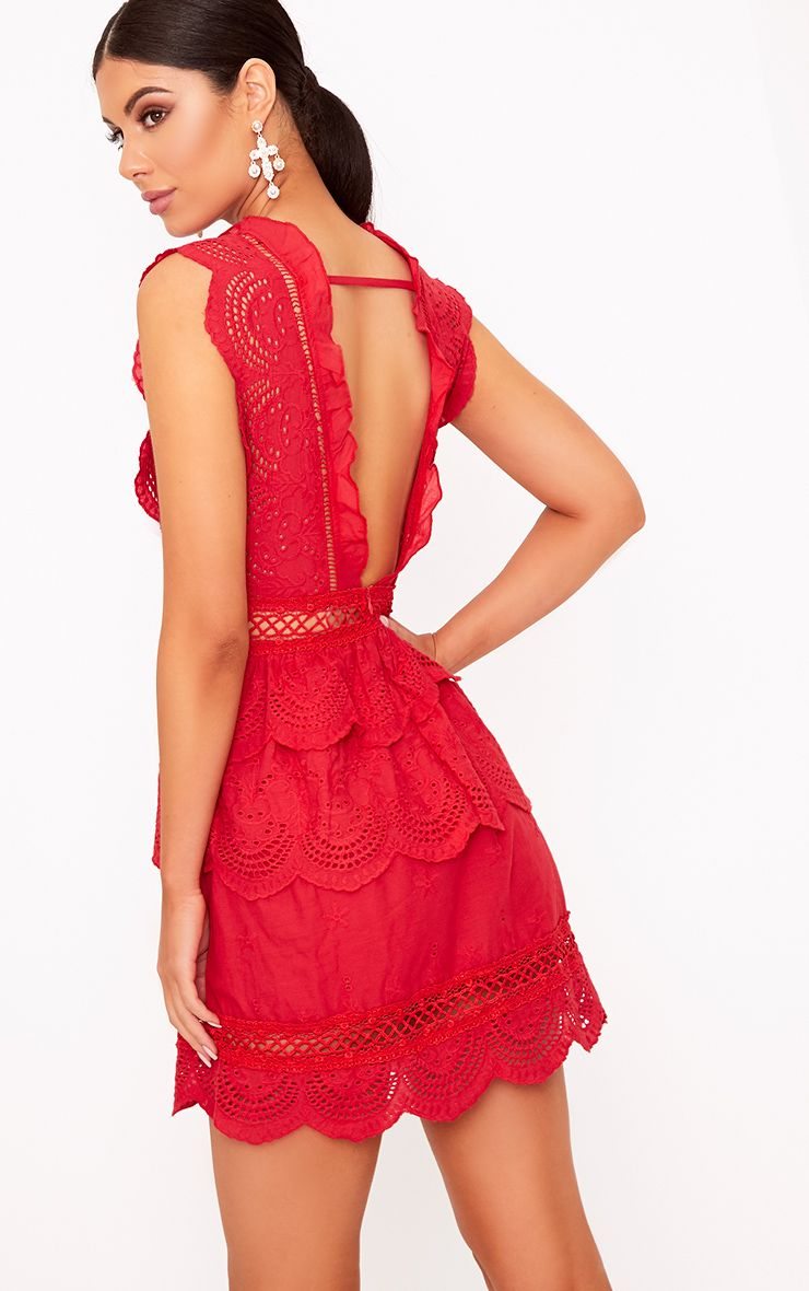 Thalia Red Crochet Lace Plunge Swing Dress