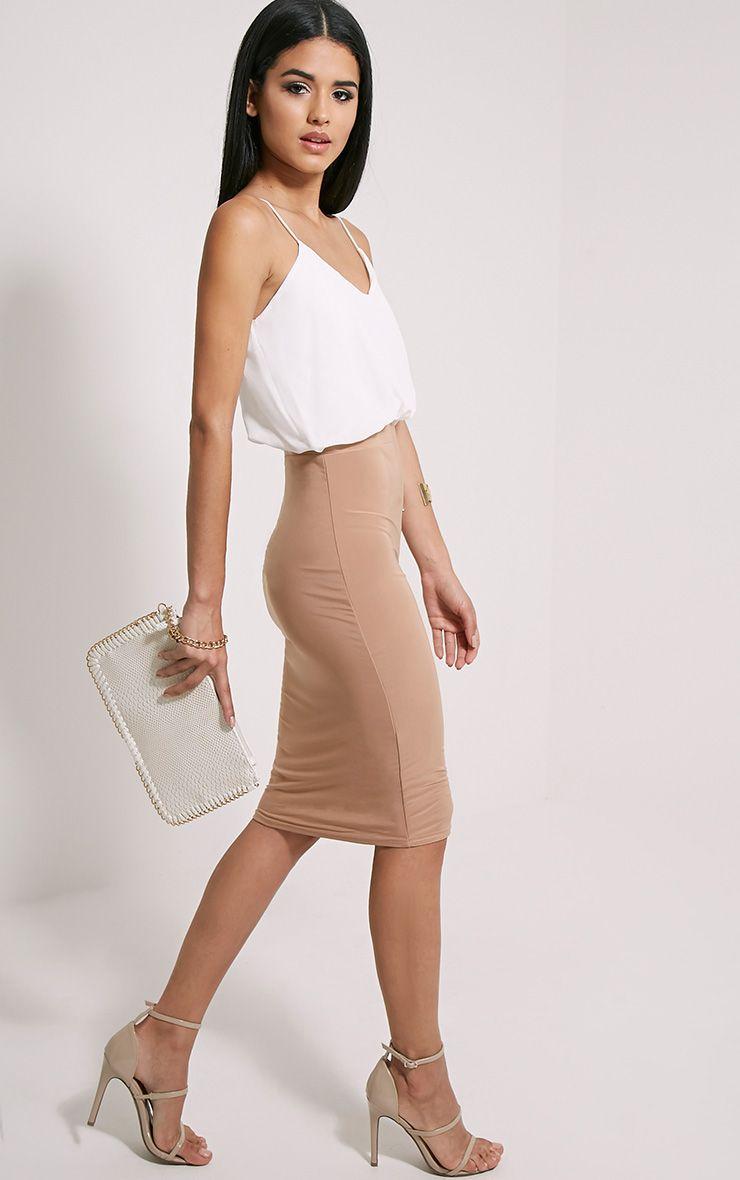 Demi Camel Frill Top Midi Dress 1