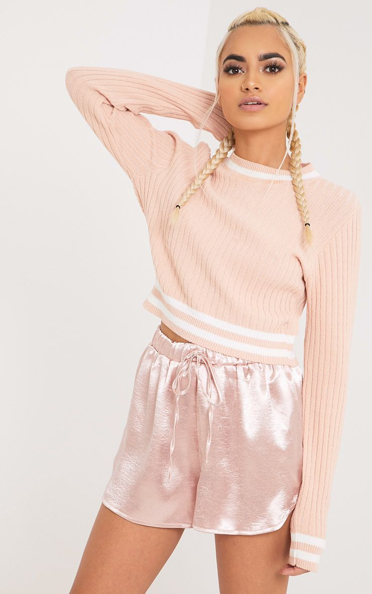 Zofia Nude Tipped Knitted Crop Top