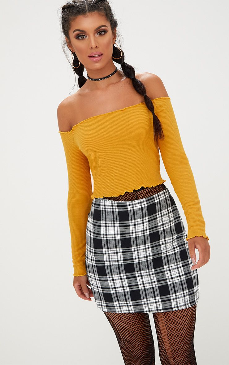 Mustard Frill Edge Crop Top