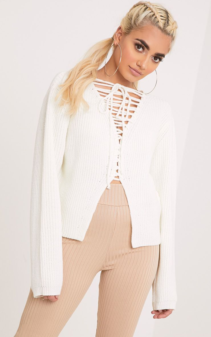 Cora Cream Cropped Knit Tie Jumper