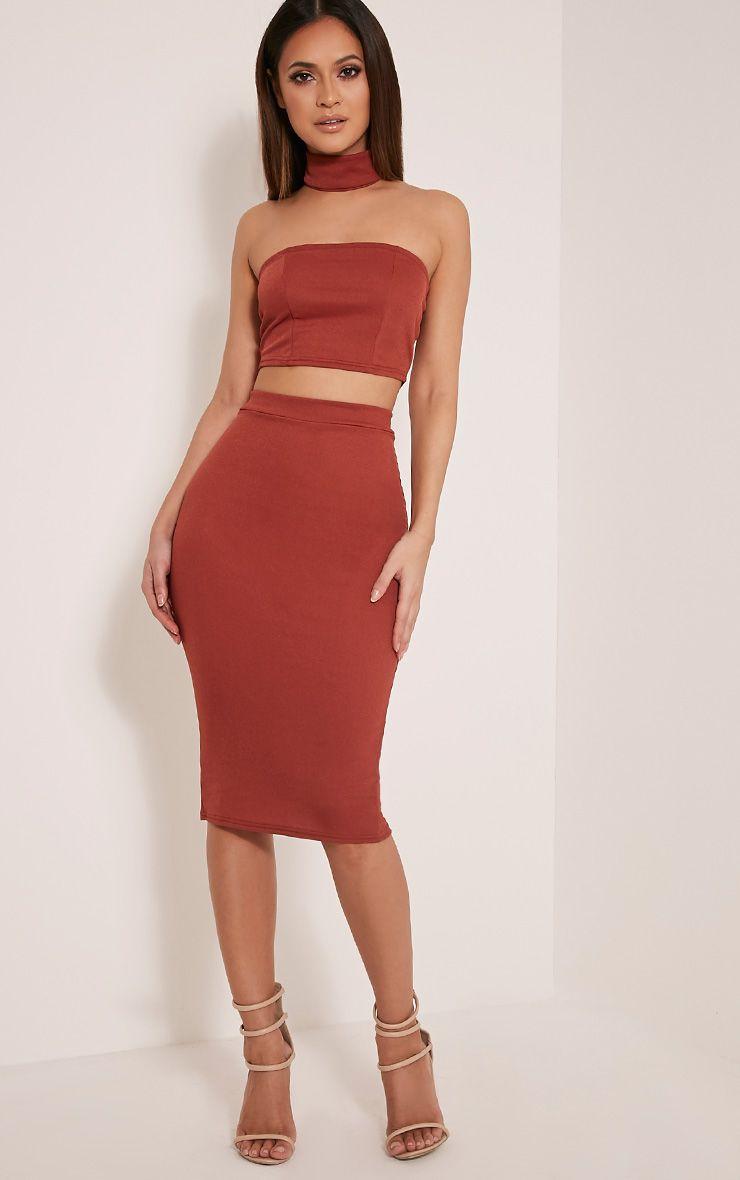 Lacy Tobacco Crepe Midi Skirt