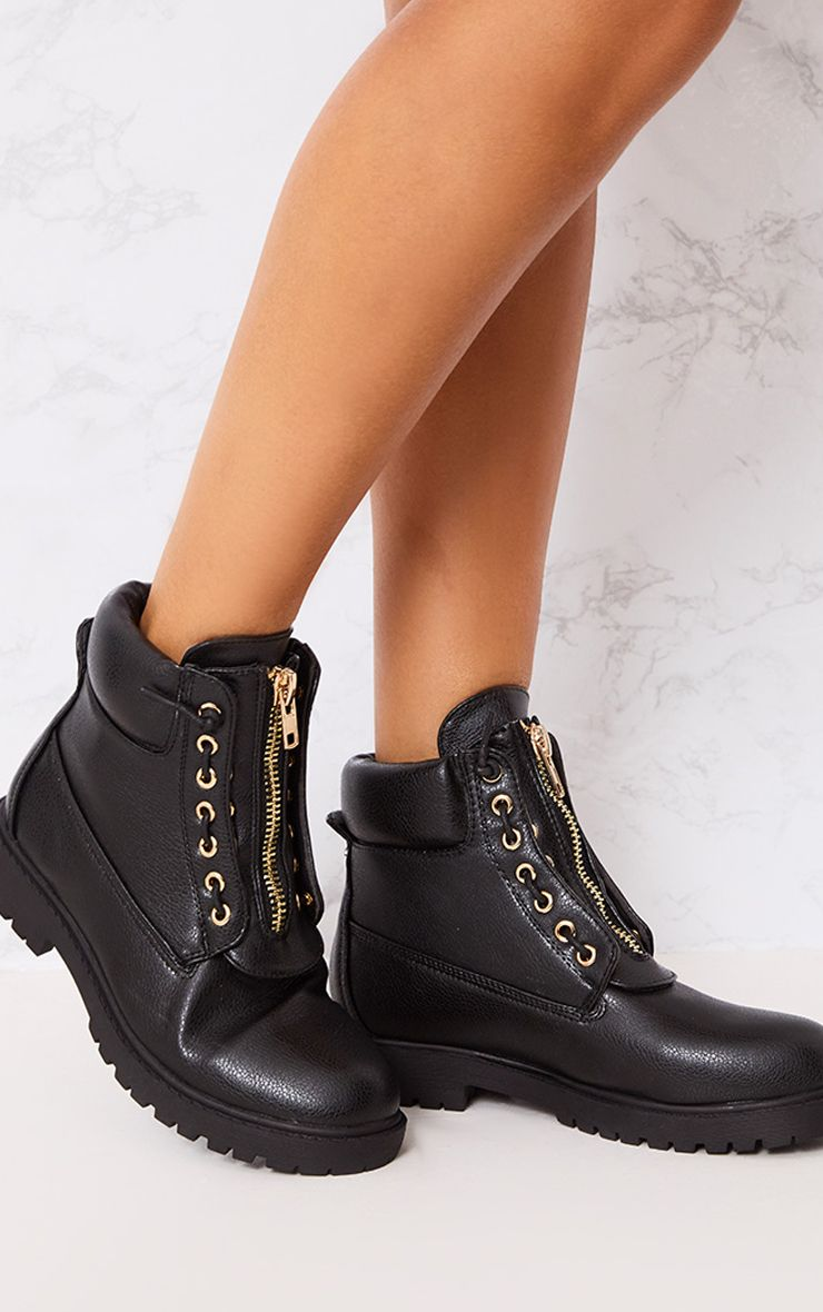 Michella Black Zip Up Boots
