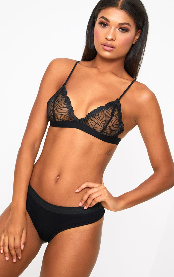 Black Triangle Lace Detail Bra