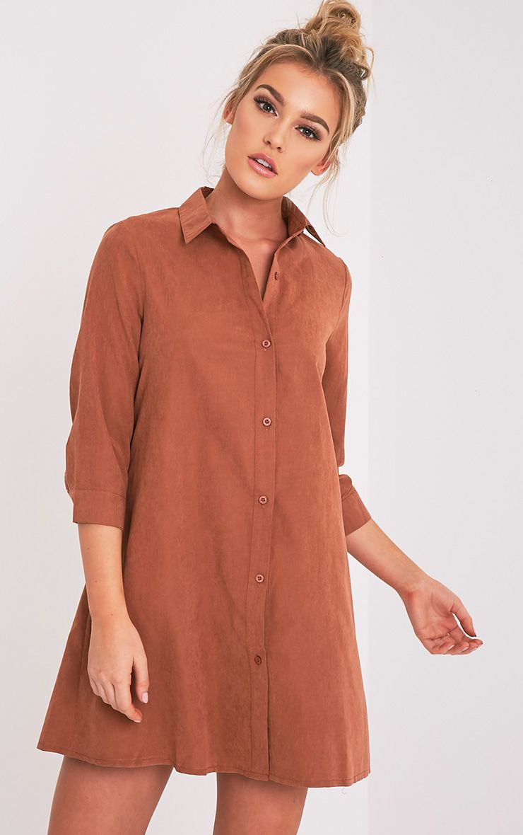 Leni Tobacco Shirt Dress 1
