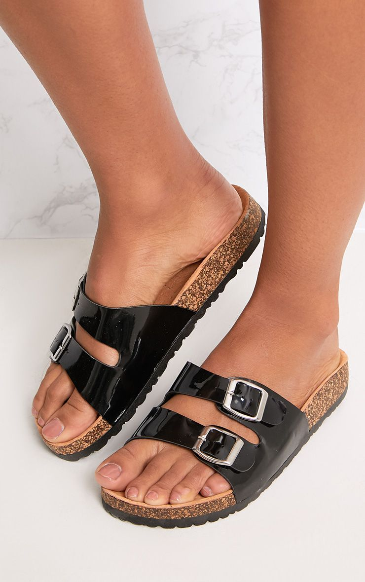 Adena Black Metallic Double Strap Sandals