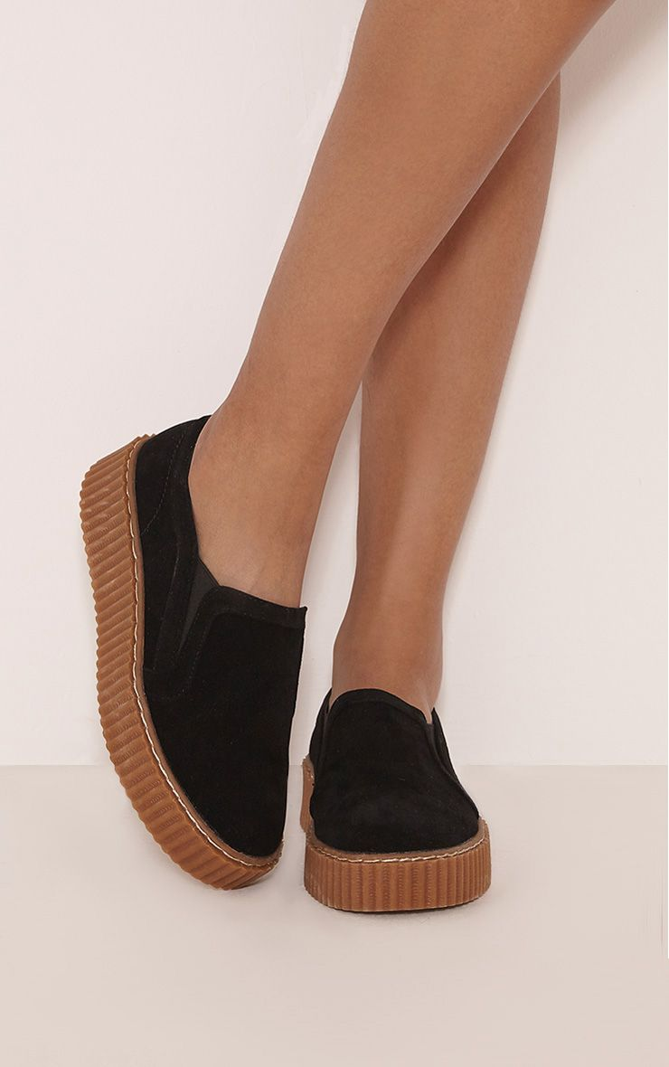 Blythe Black Faux Suede Slip On Creepers 1