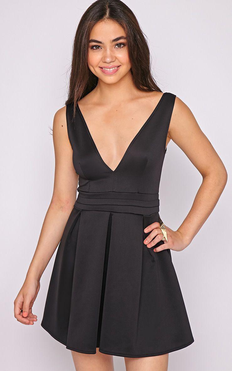 Estella Black Plunge Skater Dress-6 1