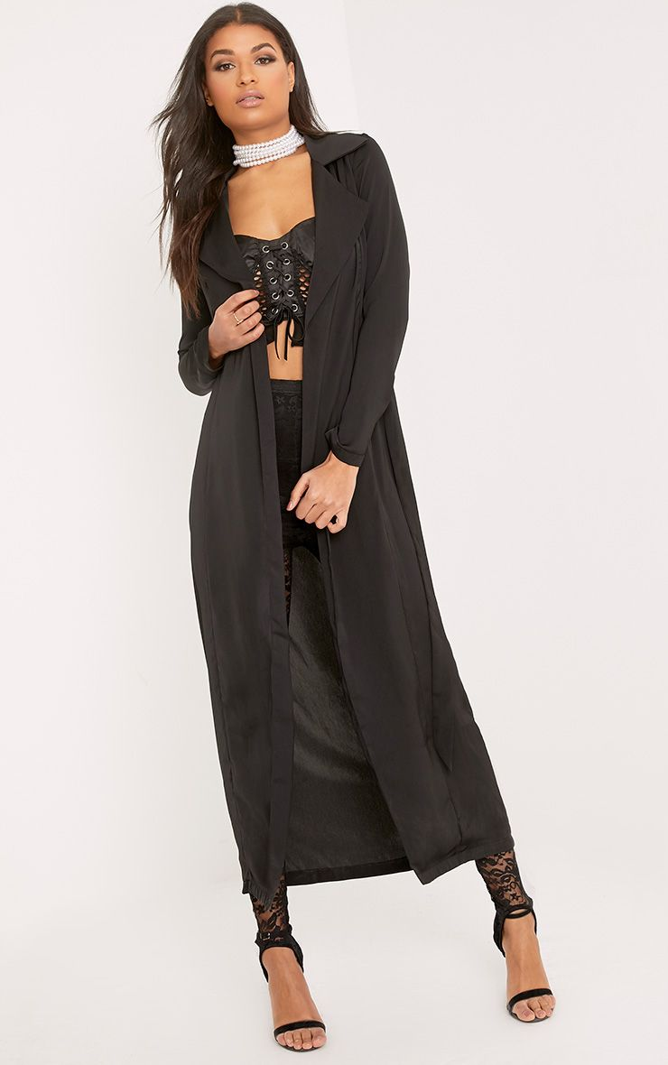 Briley Black Satin Waterfall Duster Jacket
