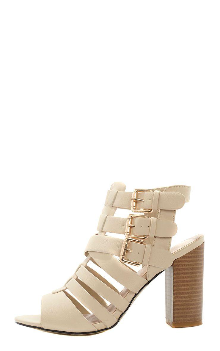 Bryn Beige Strappy Wooden Heeled Sandal  1