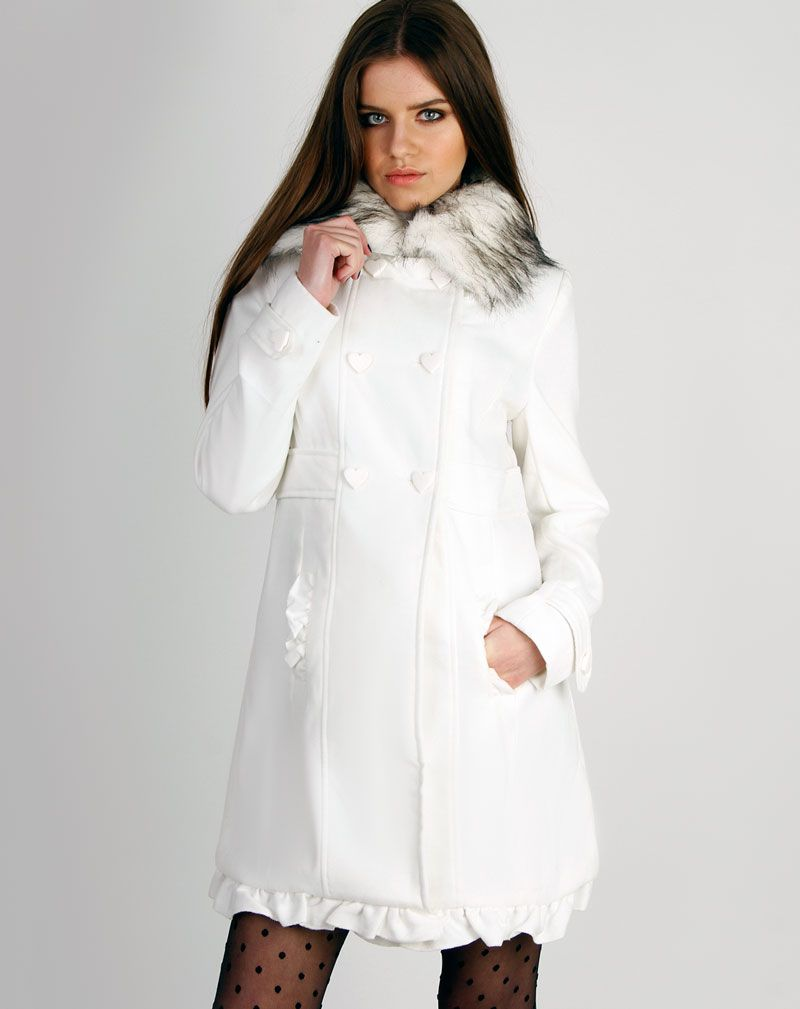 Georgie White Heart Buttoned Fur Collar Duffle Coat 1