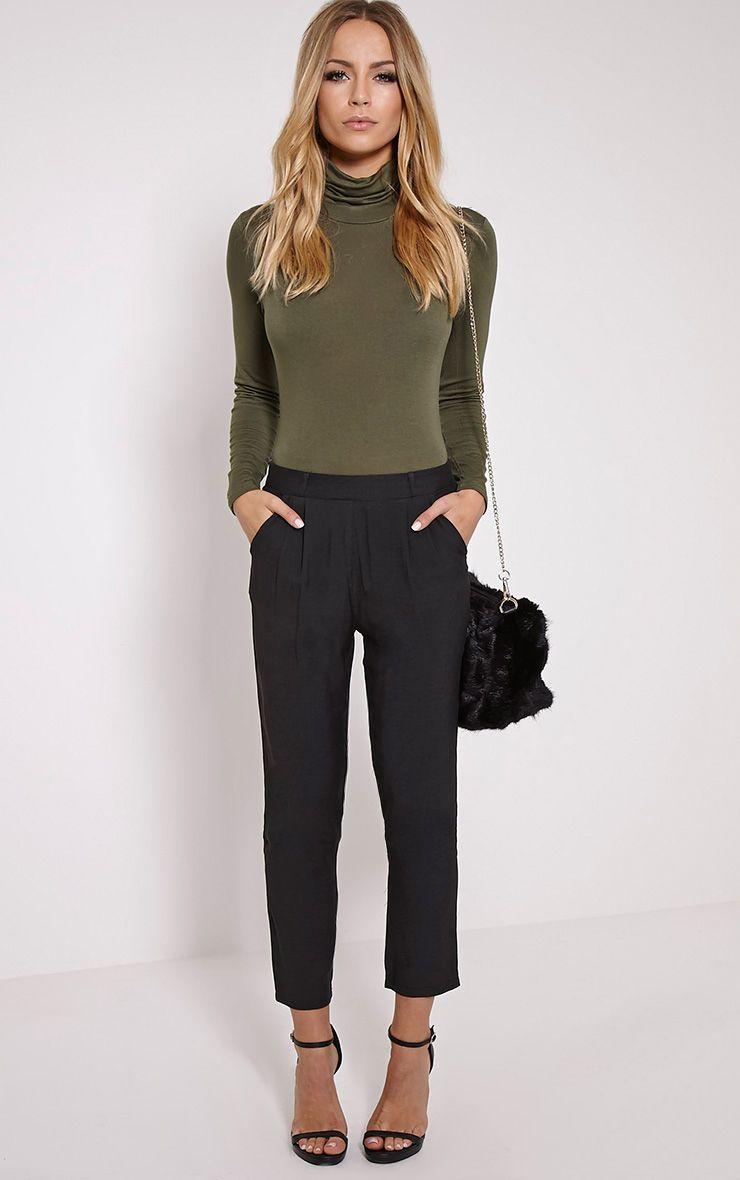 Lana Black Crop Woven Trousers 1