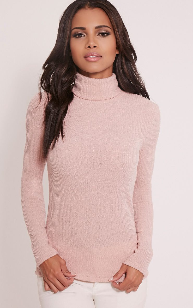 Delty Blush Knitted Rib Turtle Neck Top 1