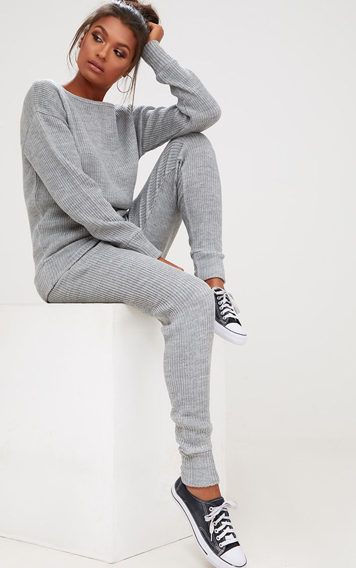 Grey Ribbed Knitted Lounge Tracksuit